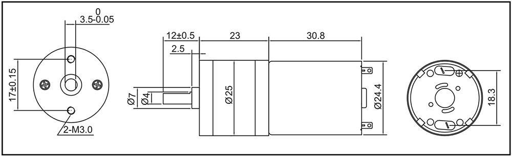modellbau-getriebemotor-gm25-370ca-outline-drawing-spec-data-sheet